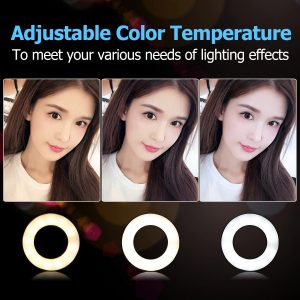 LED Ring Light with Cell Phone Holder Stand video light lamp for Live Stream Makeup Selfie Recording Lighting