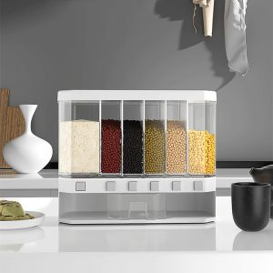Automatic Plastic Cereal Dispenser Storage Box Food Tank Rice Container Organizer Grain Storage Cans Kitchen Food Storage Tool