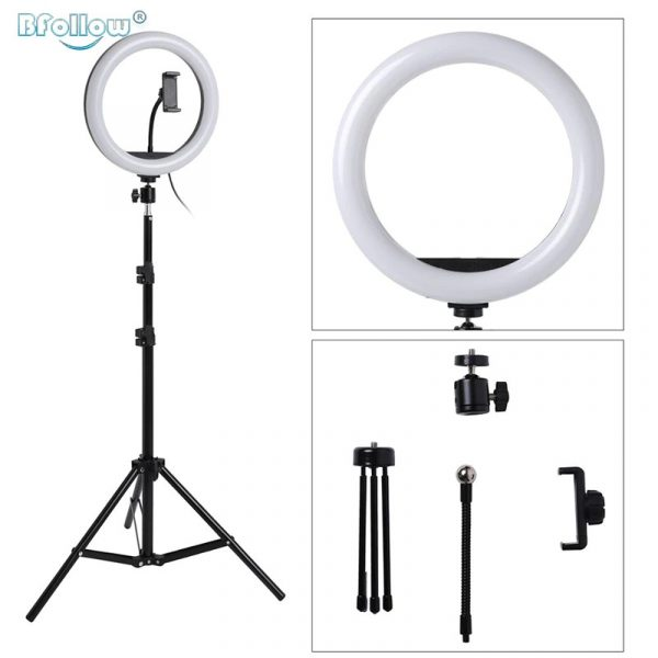 10 Inch Ring Light Dimmable Ring Lamp With Phone Holder & Tripod Makeup Selfie Ring Lamp For Youtube Live Streaming