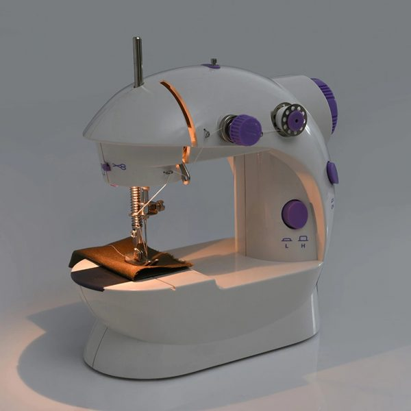 Sewing Machine Mini Portable Household Night Light Foot Pedal Straight Line Hand Table Two Thread Kit Electric